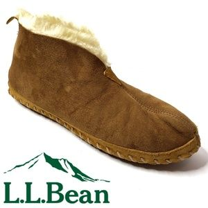 LL Bean Wicked Good Slippers Suede Shearling